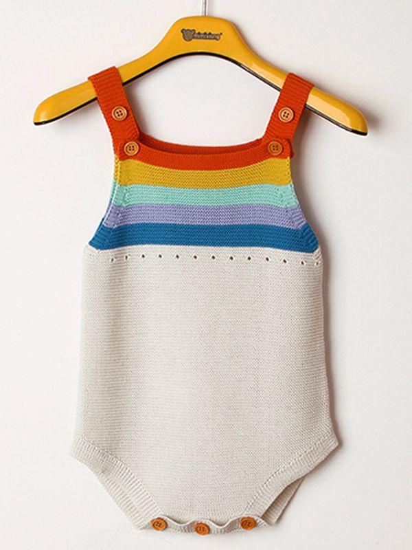 41f103d32384 Rainbow Stripes Knitted Baby Suspender Onesies Romper Bodysuit ...