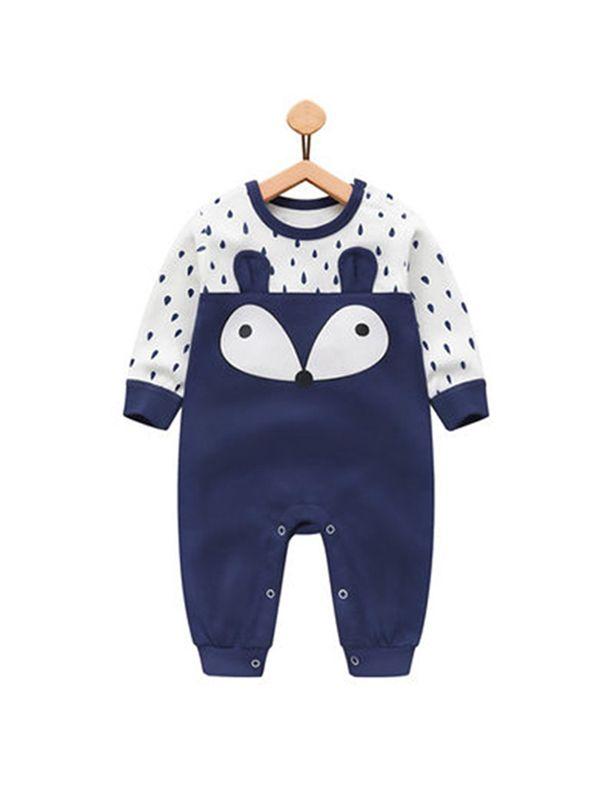 d12393f80 Wholesale Blue Cute Fox Dots Cotton Romper Long sleeve