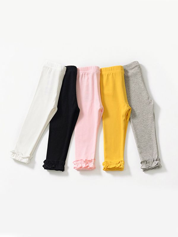 5629667b2 ... Cosy Soft Ruffled Bottom Baby Girls Leggings Solid Colour Elastic Fit  Long Pants Special for Toddler ...