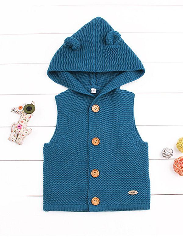 0beb9aeeb0be Wholesale Animal Ears Sleeveless Buttoned Baby Hoodie