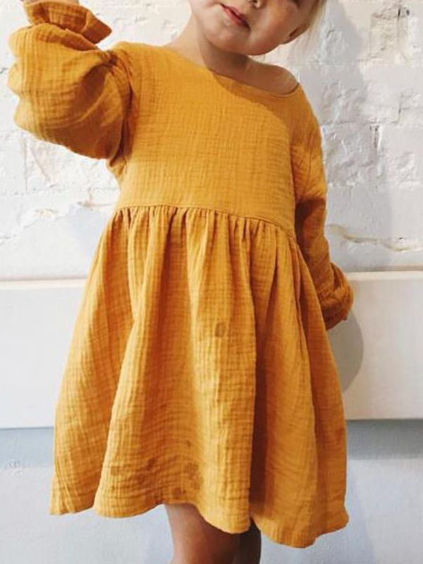 981dfd7334 Yellow Cotton Linen Dress Long sleeve for Toddlers Girls Solid Color ...