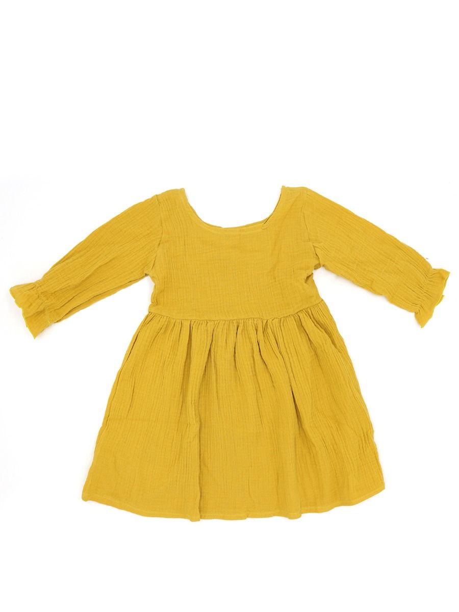 333da06ad0 ... Yellow Cotton Linen Dress Long sleeve for Toddlers Girls Solid Color ...