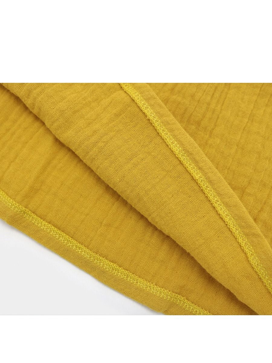 3f446b7b42 ... Yellow Cotton Linen Dress Long sleeve for Toddlers Girls Solid Color