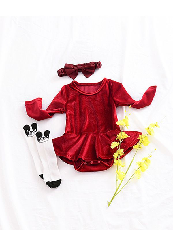 c0cf8c4fb7a ... Xmas Red Ruffle Rompers for Toddlers Long Sleeve Baby Girls Bodysuit Solid  Colour ...