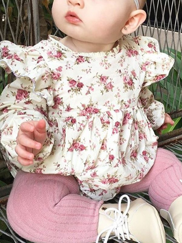 f864767bc3f27 ... Cute Floral Ruffle Baby Romper Cotton Climbing Clothes for Toddler  Girls Long Sleeve Soft Infant Pajamas ...