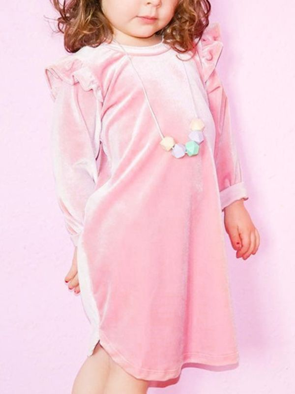 3aaacb64b ... Pretty Pink Cap Long Sleeve Dress for Toddler Girls Winter O Neck Baby  Frock ...
