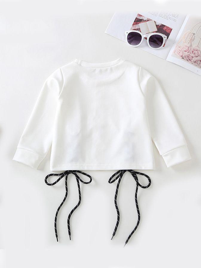 38ed0b89 ... Braid String Cord Long Sleeve Toddler Girls Top T-shirt White ...