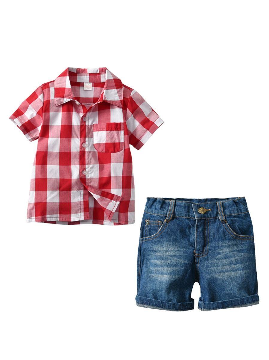 002198f5 2-Piece Short Sleeve Gingham Shirt Top and Short Denim Pants Trousers Set  Toddler Big ...