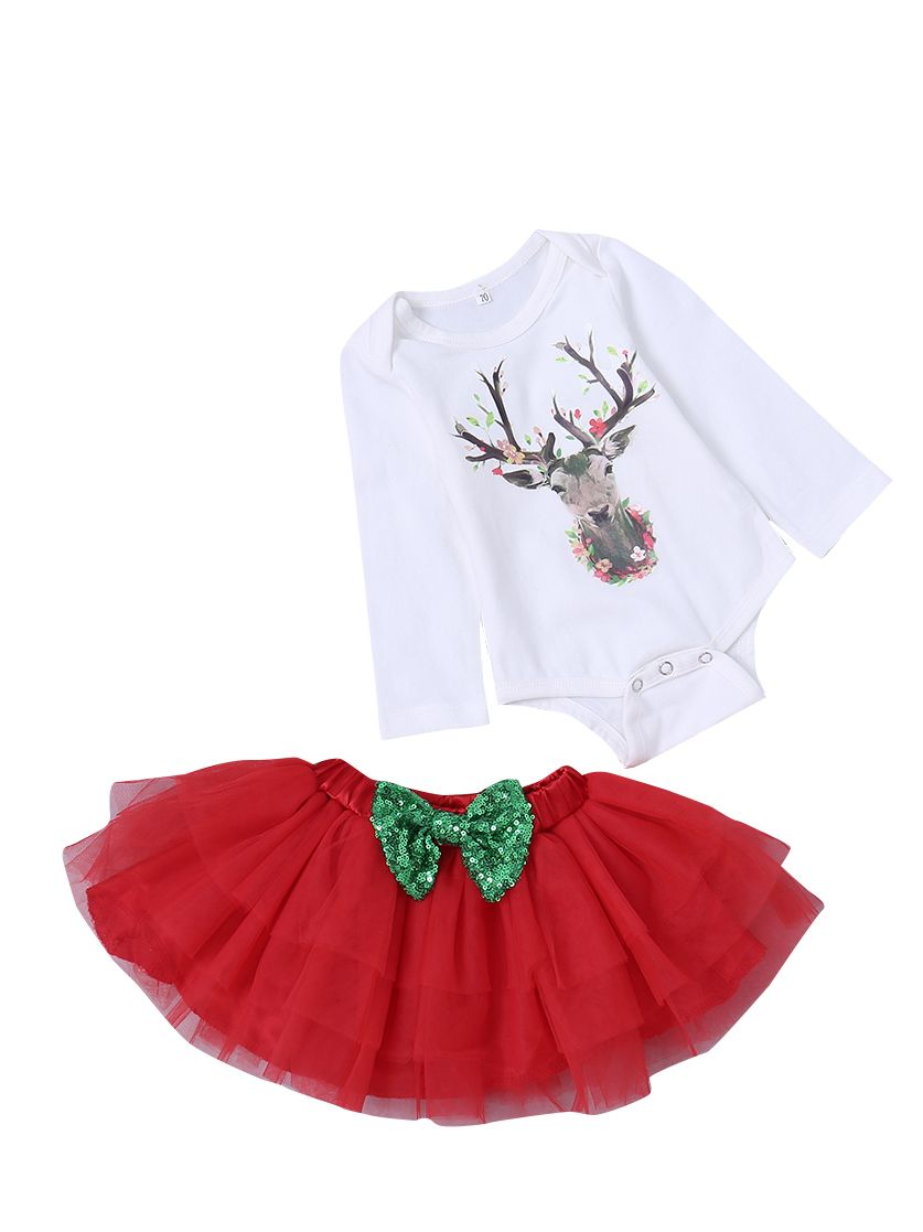 7ee61f3e1 ... Christmas 3pcs Toddler Kids Baby Girls Clothes Outfit Set Cute Headband  and Deer Print White Long ...