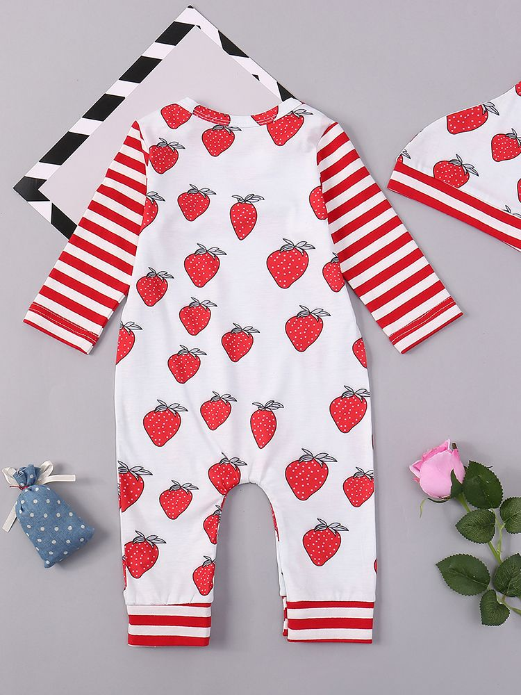 331e992d2 ... Spring 2pcs Kids Romper Set Red Striped Strawberry Long Sleeve Onesie  Jumpsuit with a Cute Hat ...