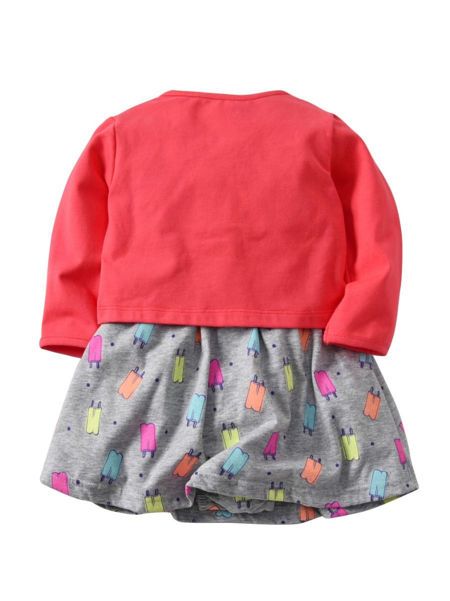 3225fa2f9fc0a ... 2pcs Toddler Kids Baby Girls Clothes Outfit Solid Color Long Sleeve  Coat with Buttons and Ice ...