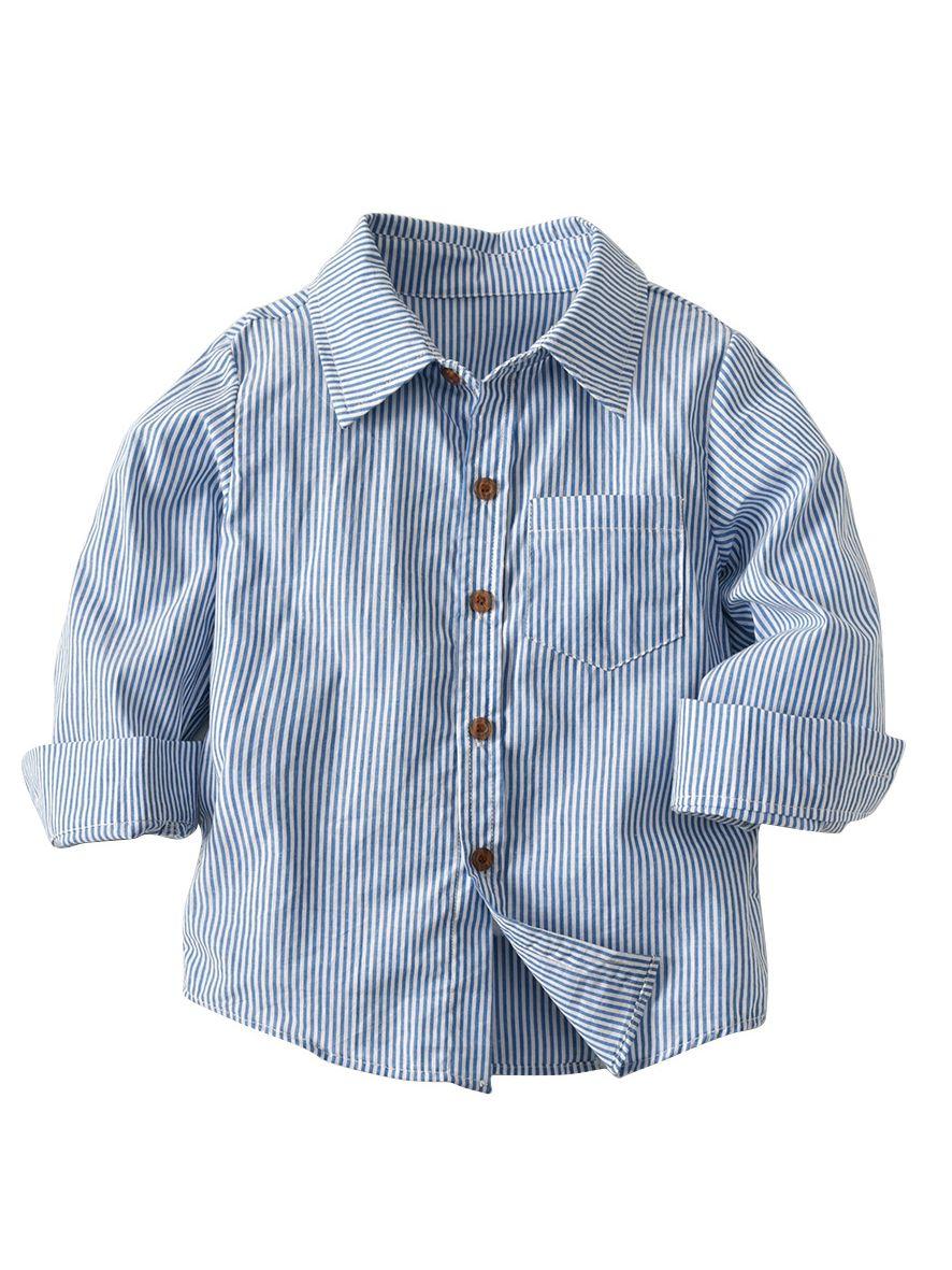 97de094591 Autumn Kids Boys Striped Shirt Tops Tee Long Sleeve Chest Pocket Children  Casual Clothes ...