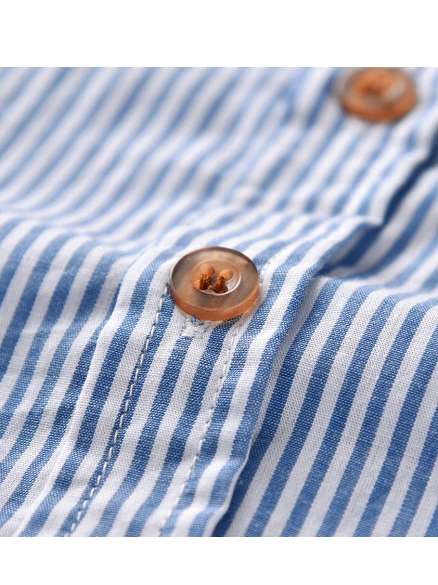 61766d3f35 ... Autumn Kids Boys Striped Shirt Tops Tee Long Sleeve Chest Pocket  Children Casual Clothes ...