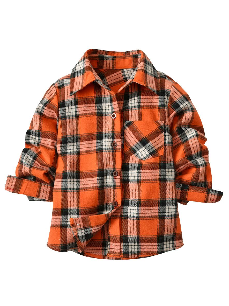 Wholesale Cute Toddler Kids Checked Shirt Lapel Long
