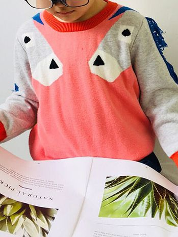 5db81e9fb0 ... Winter Cute Horse Style Knitted Sweater Color Block Jumper with Classic  Crew Neck for Infant Toddler ...