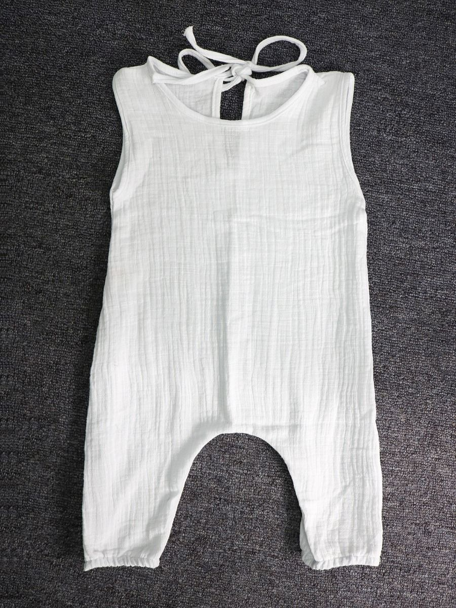 293426ce4 ... Sleeveless Summer Linen Rompers Baby Toddler Girls Bodysuit Onesie  Solid Color ...