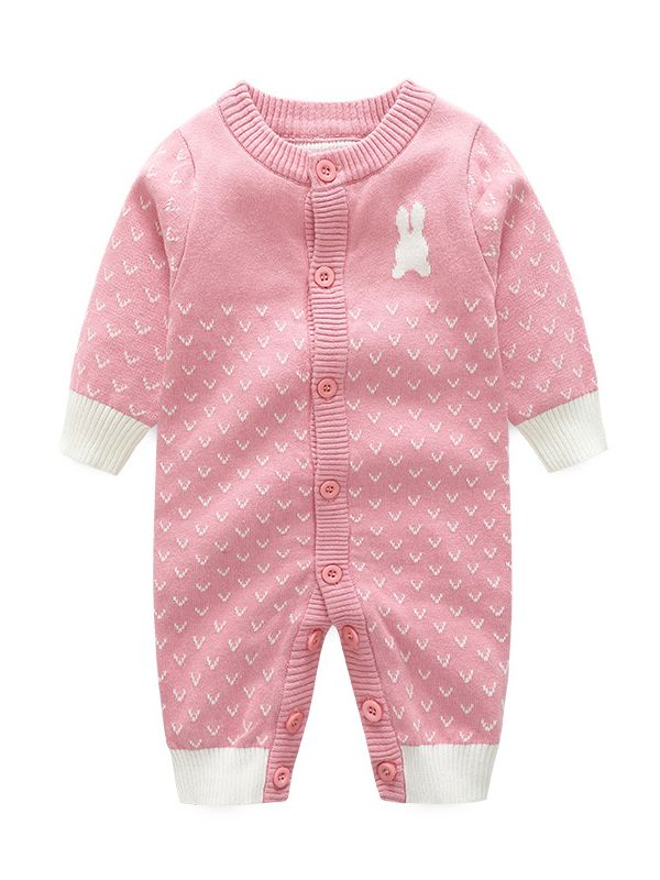 5c212ce0c7ec Wholesale Cute Rabbit Style Buttoned Baby Girl Knitted