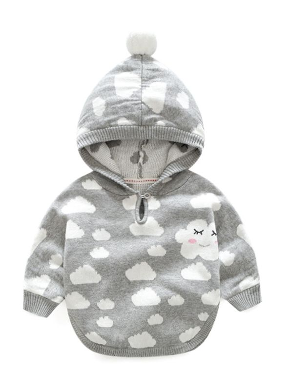 Cute Cloud Print Ball Decorated Hooded Crochet Poncho Baby Toddler Girl  Cloak Coat Kids Winter Outwear Cape