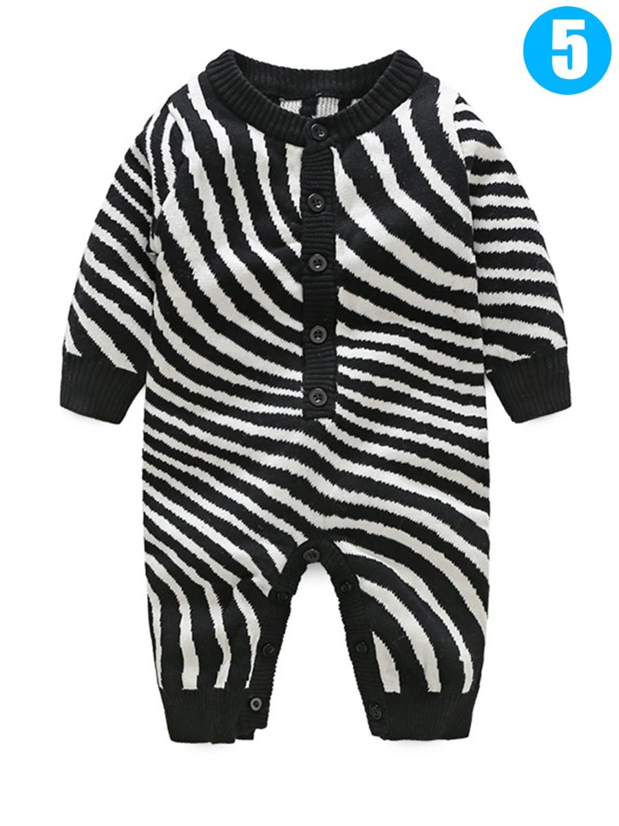 78cc5de07 ... Trendy Crochet Baby Boys Girls Romper Onesie Long Sleeve Jumpsuit for  Winter Wavy/Cloud/ ...