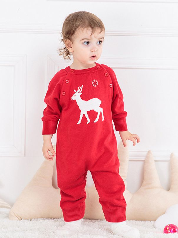 2269709cc80 ... 2-piece Baby Xmas Knitted Romper Set Christmas Deer Snowflake Crochet  Print Hat and Long ...