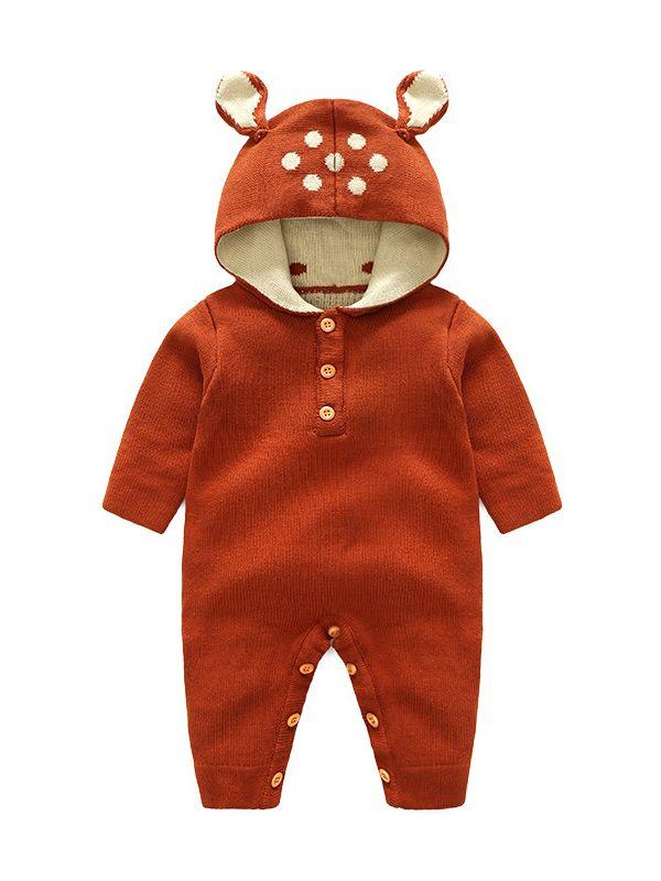 df93a37bccbf2 Cute Hooded Animal Ear Knitted Infant Jumpsuit Rompers Deer/ Rabbit/Panda  Ear Design Crochet ...