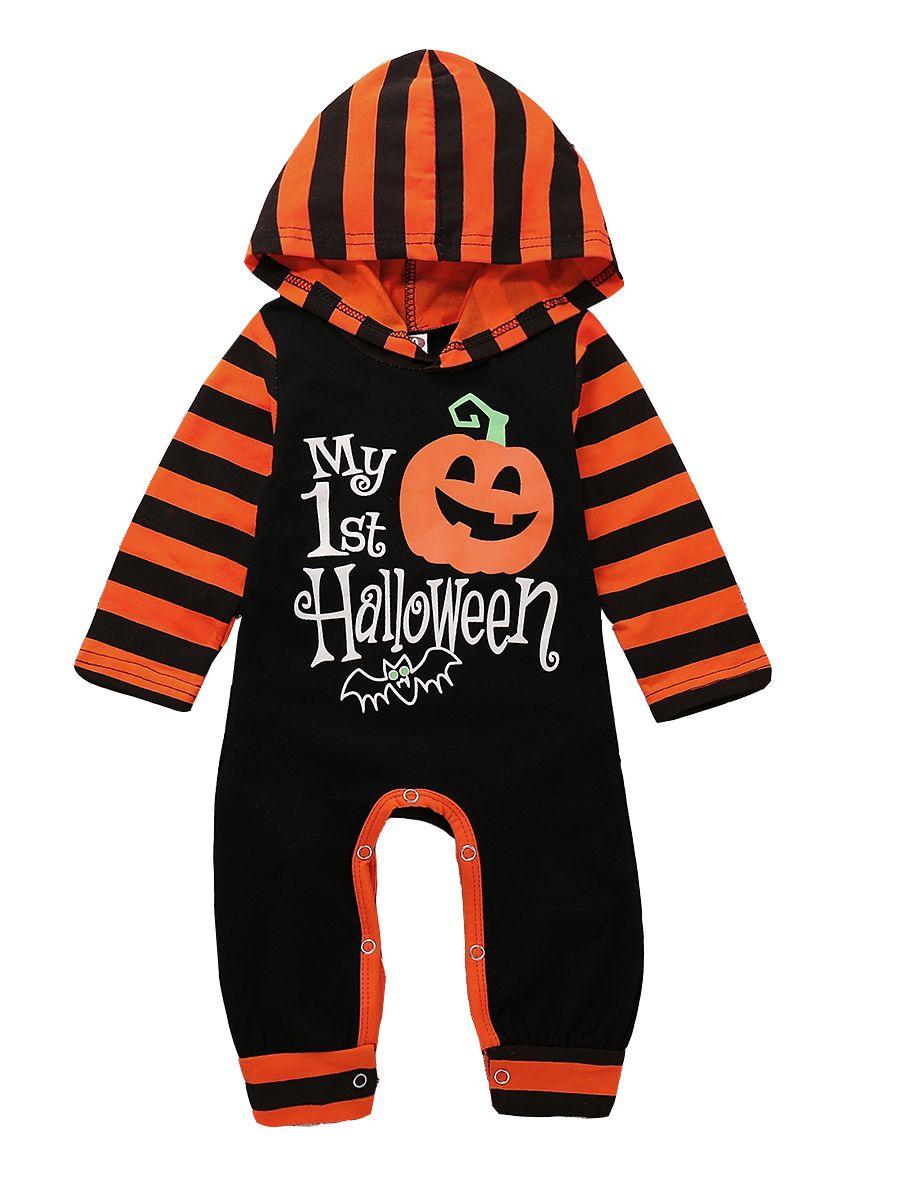 4041136b1384 Halloween Infant Hooded Pumpkin Bat Print Jumpsuit Onesie Color Block Long  Sleeve Baby Rompers ...