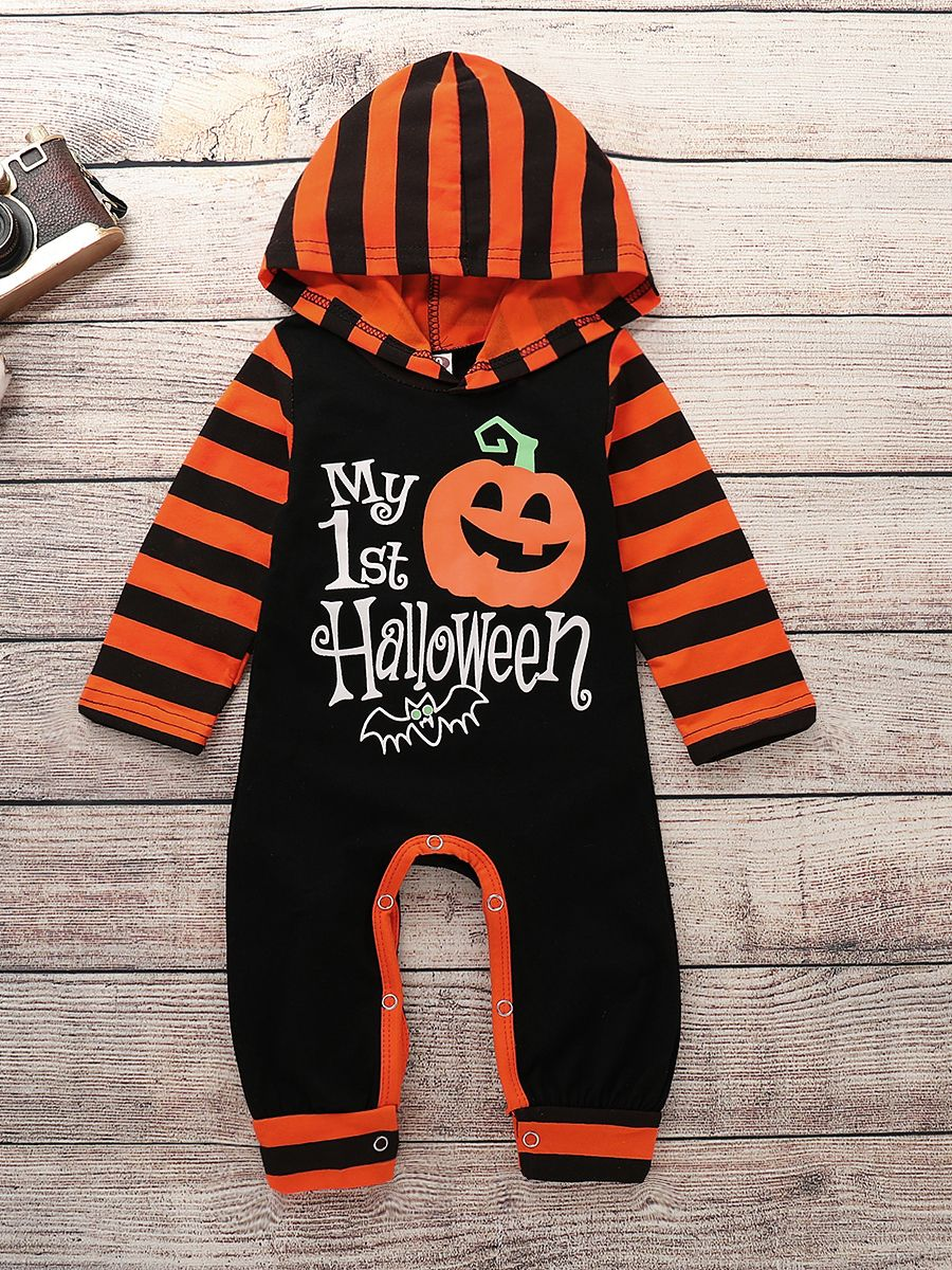 99de0448a2 ... Halloween Infant Hooded Pumpkin Bat Print Jumpsuit Onesie Color Block Long  Sleeve Baby Rompers ...