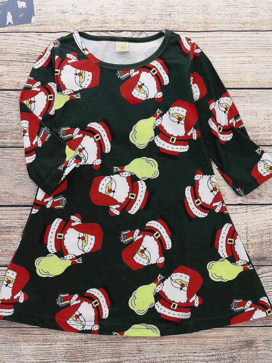 8d786a8b8c81f4 Tap to expand · Trendy Santa Claus Print Winter Baby Toddler Dress Frock  Infant Christmas Clothes for Winter ...