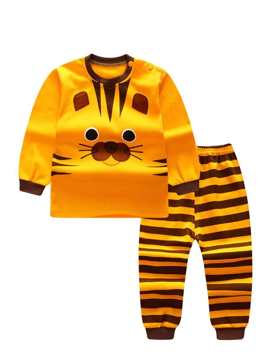 9ab5bde4d3af3 2-Piece Tiger Print Style Baby Boys Girls Kids Homewear Set Long Sleeve  Color Block ...