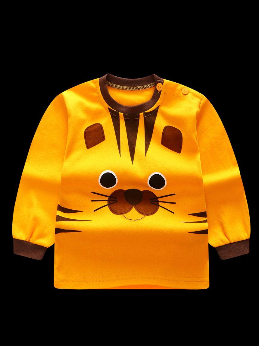 0b0e7e83968db ... 2-Piece Tiger Print Style Baby Boys Girls Kids Homewear Set Long Sleeve  Color Block ...