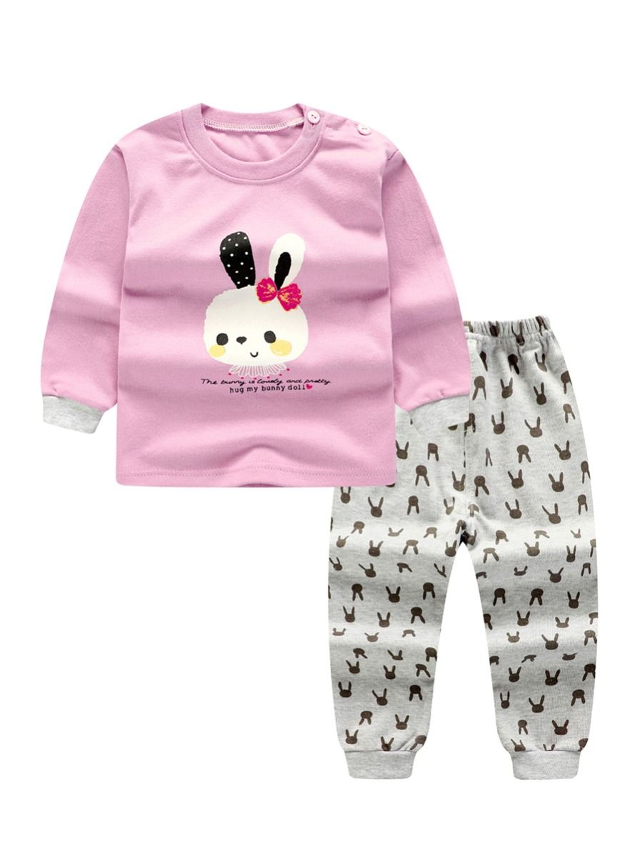 d0d01741d 2-Piece Winter Children Clothes Set Baby Girl Cony Print Tee Top and Rabbit  All Over Print Leggings Pants Kids Pajamas for Winter Wholesale
