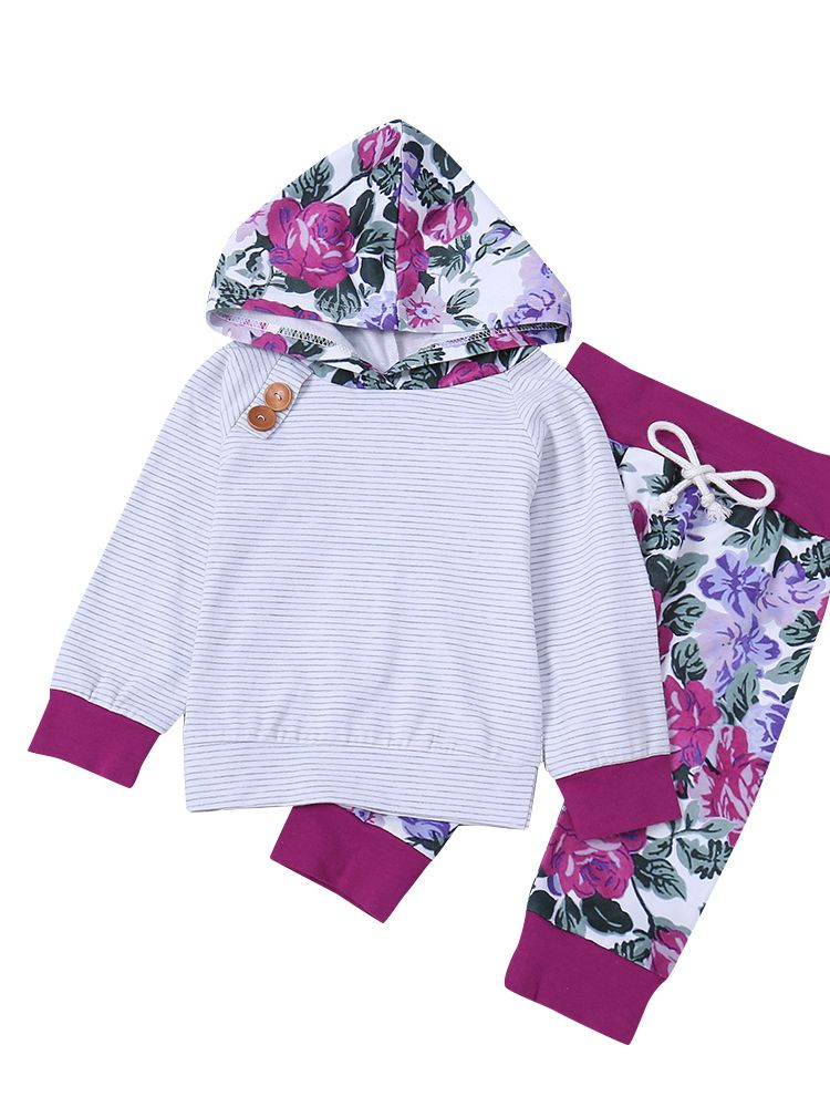 4db239f7 Winter Casual 2-piece Baby Toddler Girls Kids Clothing Set Sport Outfits  Long Sleeve Striped ...