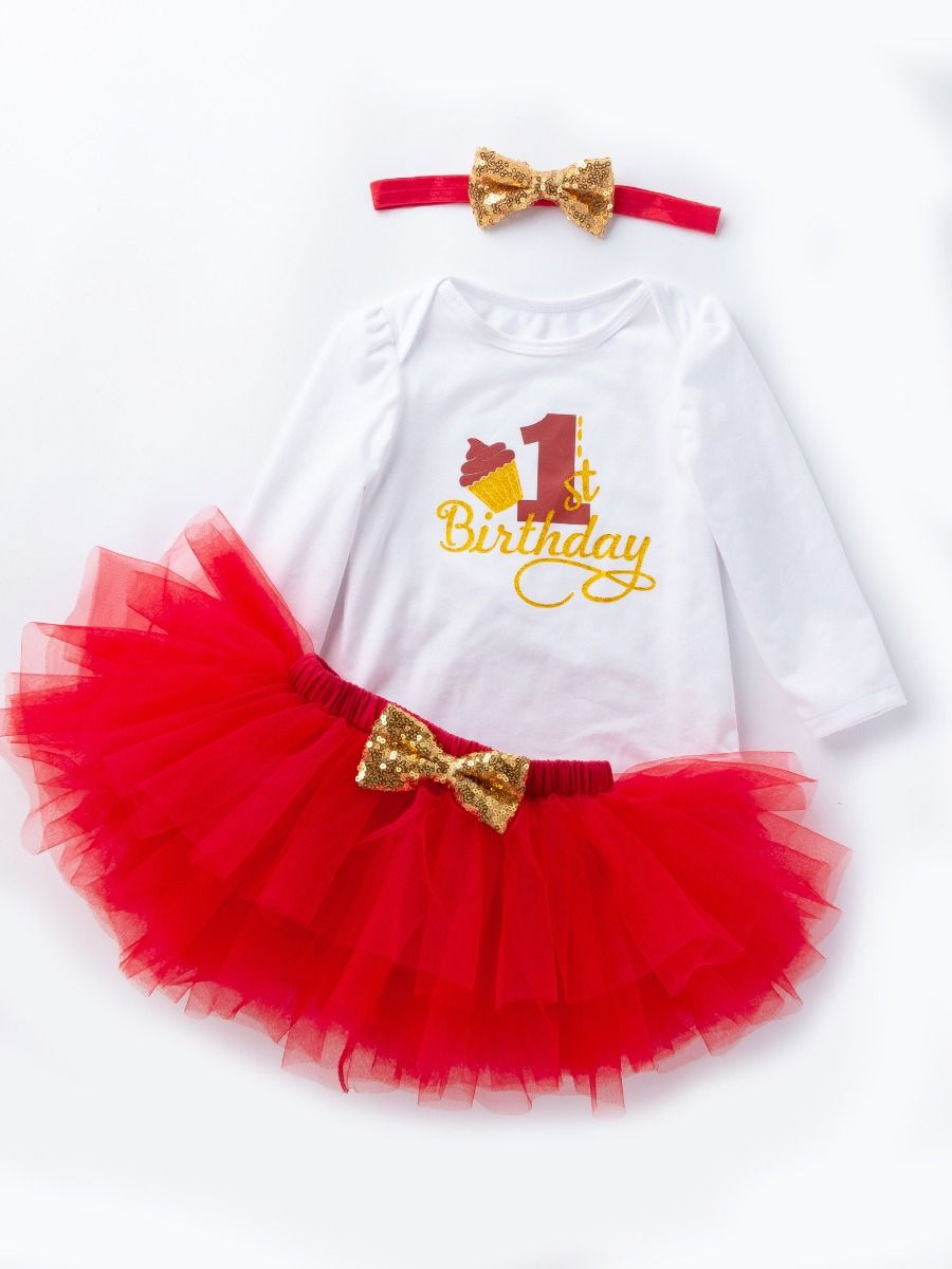 URBEAR Baby Girl 1st Birthday 3 Pcs Rose Red Outfits Romper+Tutu Dress+Headband