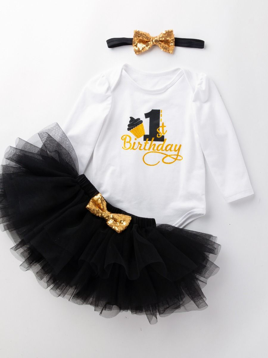 a5af90828 3 PCS Infant Girls Birthday Party Outfit Set Costume 1st Birthday Shiny Letters  Romper Jumpsuit Top ...
