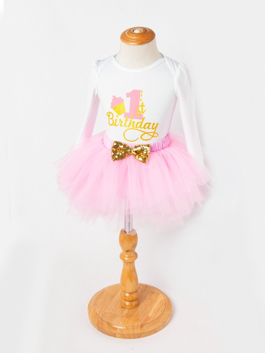 43556c63ee ... 3-piece Baby Girls Skirt Romper Onesie Outfit with Gold Sequin Bowknot  Headband 1st Birthday ...