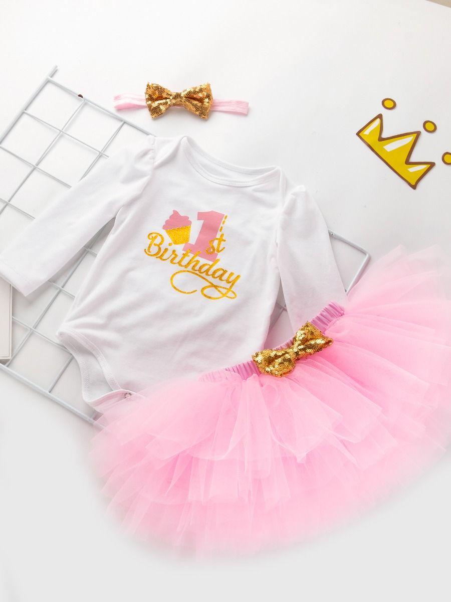 Miyanuby Toddler Baby Girls Bowknot Pink Cotton Romper Bodysuit Tutu Skirt Clothes Set Princess Party Dresses