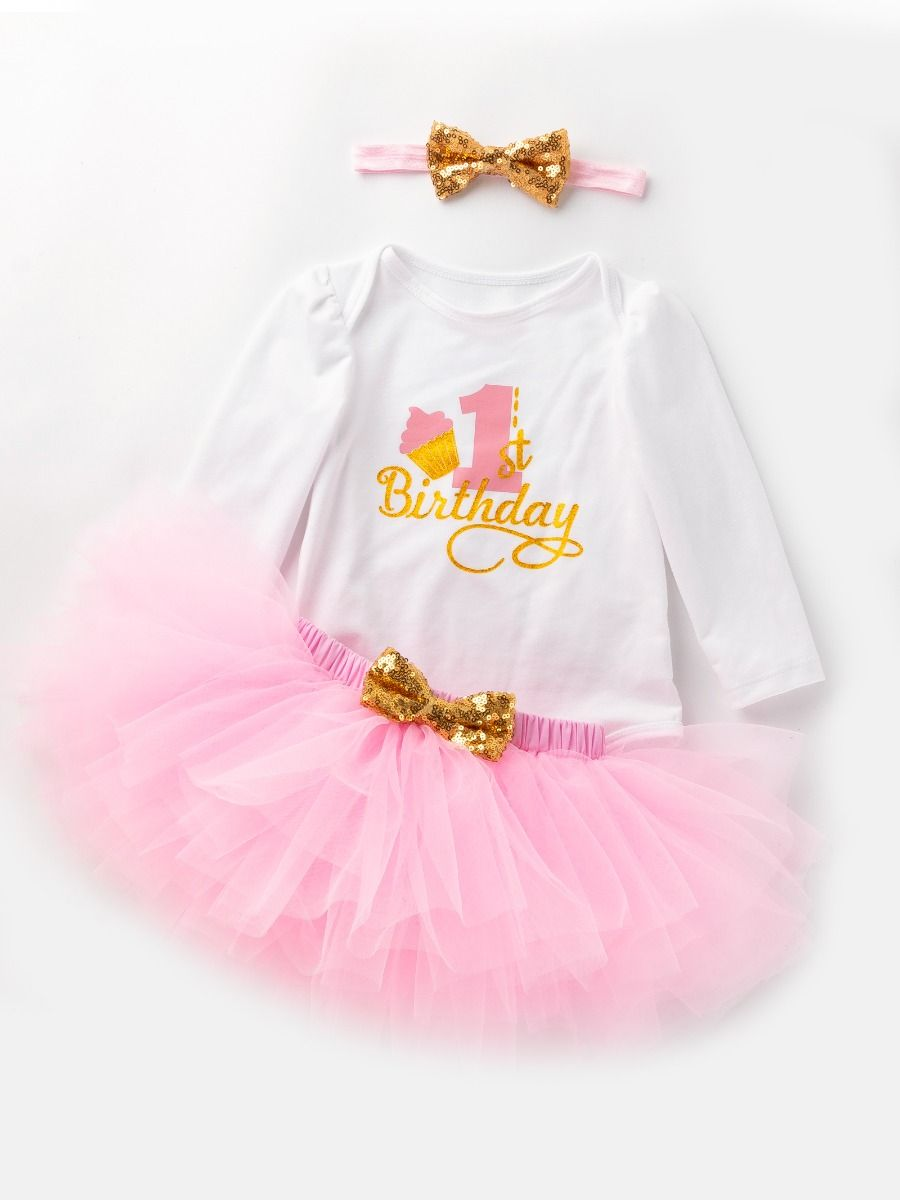 3ebcac789d4 3-piece Baby Girls Skirt Romper Onesie Outfit with Gold Sequin Bowknot Headband  1st Birthday ...