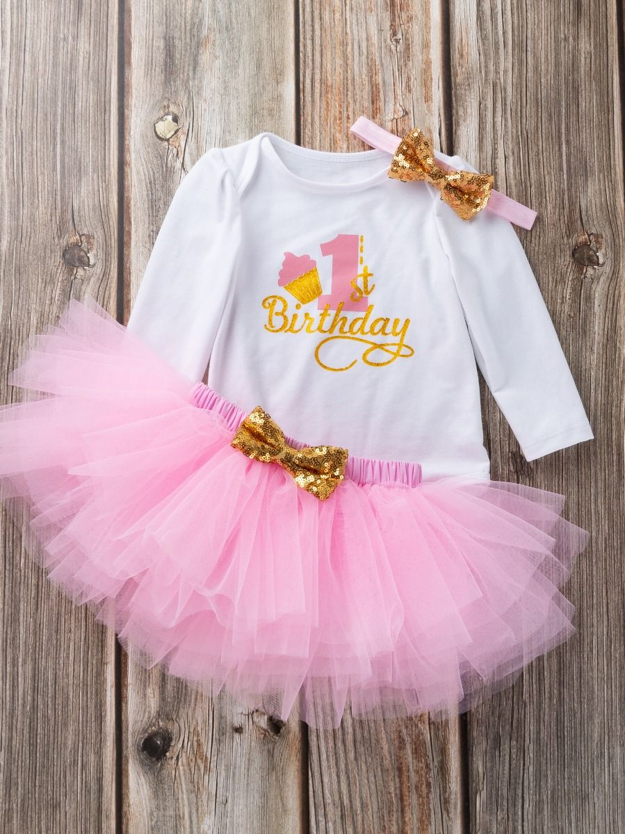 4dc77b8863f5 ... 3-piece Baby Girls Skirt Romper Onesie Outfit with Gold Sequin Bowknot  Headband 1st Birthday ...