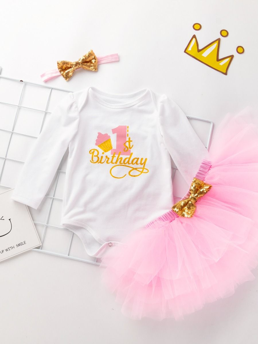 78c87fc0e ... 3-piece Baby Girls Skirt Romper Onesie Outfit with Gold Sequin Bowknot  Headband 1st Birthday ...