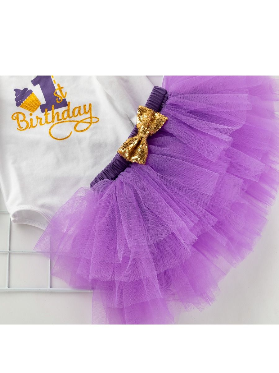 08770148fc 3 PCS 1st Birthday Shiny Printed Princess Cake Smash Romper Dress with Gold  Sequin Bow Headband Outfit Set Photo Shoot Costume Wholesale
