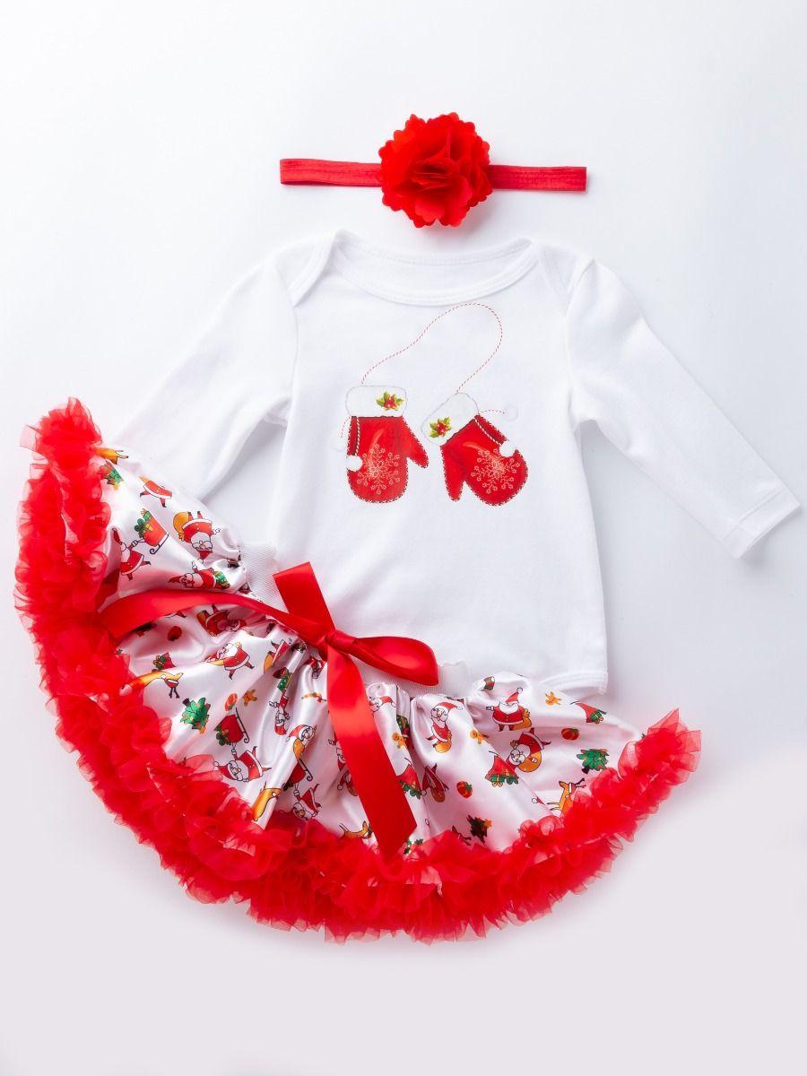 d4d18661d67e ... 4PCS Baby Girls Xmas Romper Set Red Big Flower Hair Band and Christmas  Gloves Print Bodysuit ...
