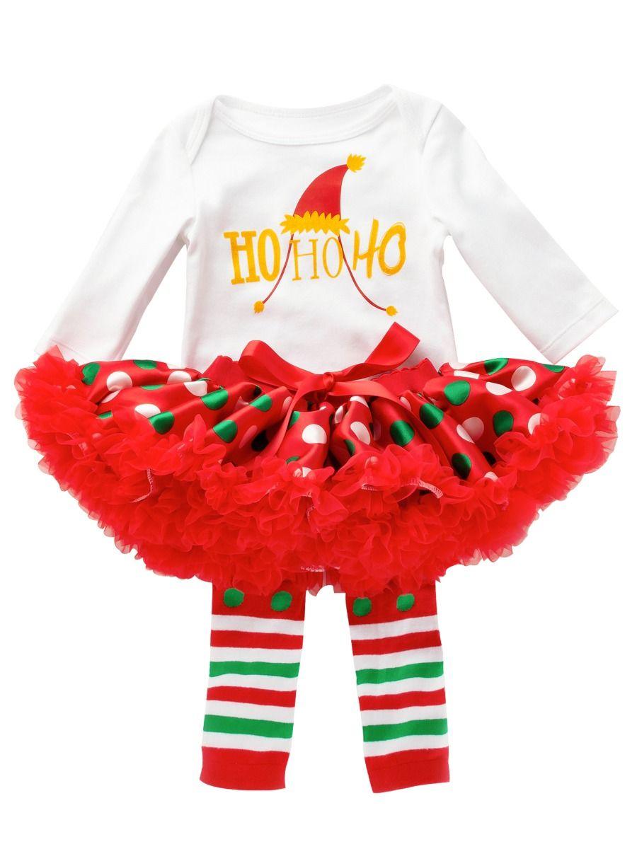 7b88a270a ... 4PCS Christmas Newborn Baby Girl Clothes Outfit Set Shiny Printed  Romper Bodysuit Princess Polka Dots Tutu ...