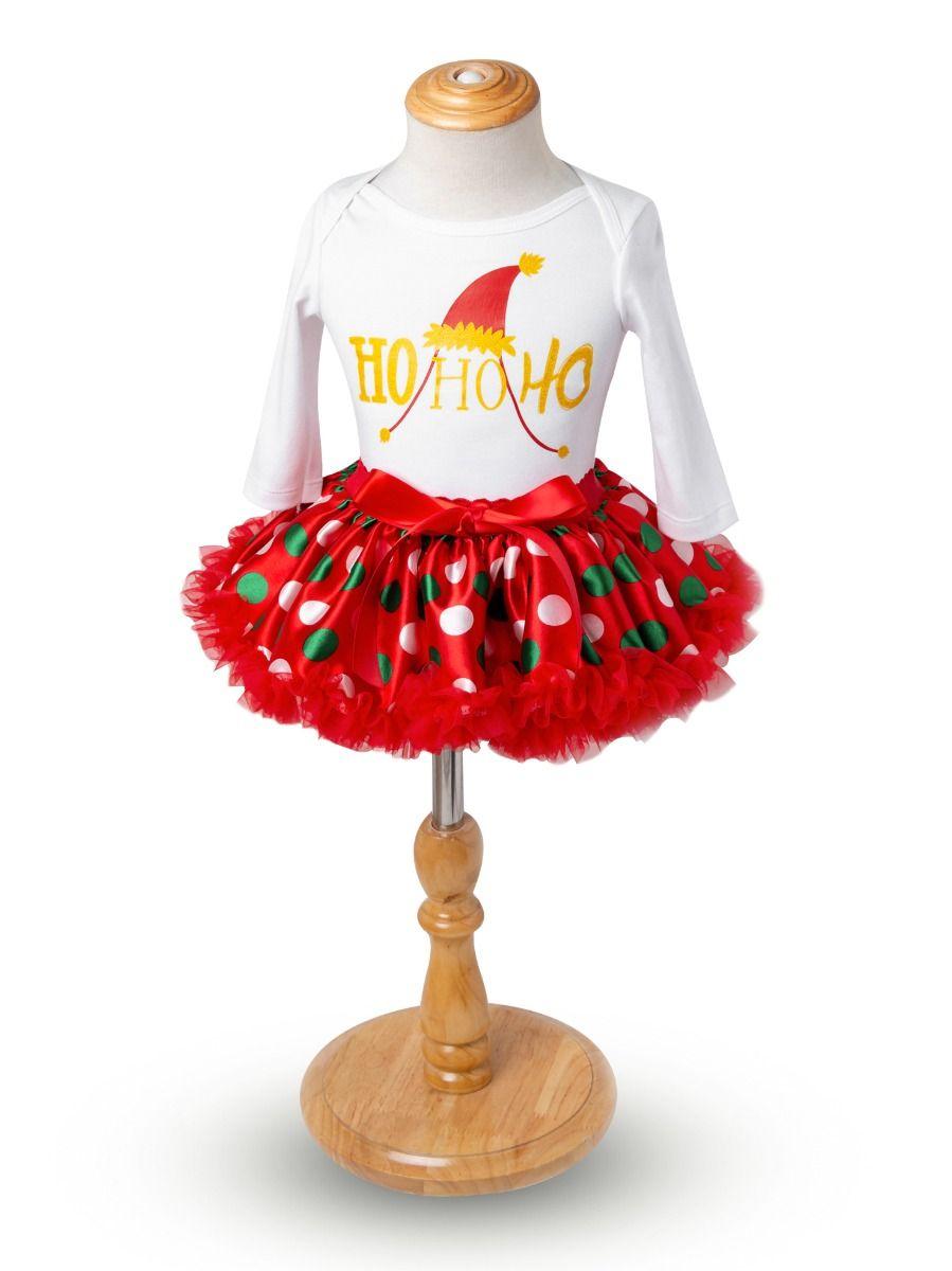 cf792e051 ... 4PCS Christmas Newborn Baby Girl Clothes Outfit Set Shiny Printed Romper  Bodysuit Princess Polka Dots Tutu ...