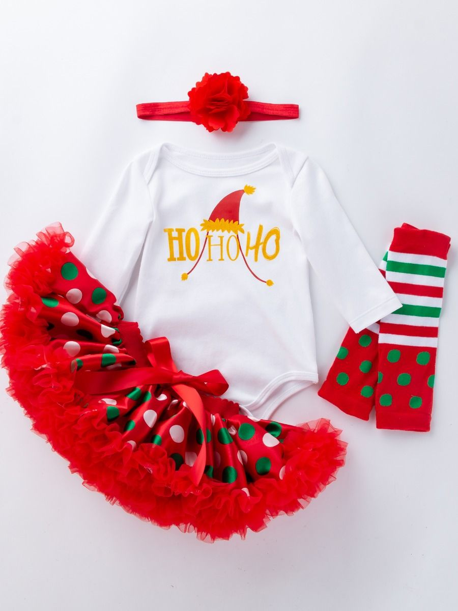 bfb8e336d 4PCS Christmas Newborn Baby Girl Clothes Outfit Set Shiny Printed Romper  Bodysuit Princess Polka Dots Tutu ...