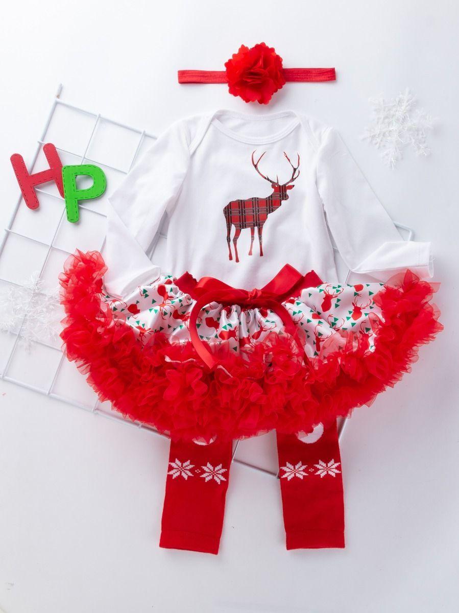49723d1c60c7 Wholesale 4PCS Christmas Baby Girl Clothes Outfit Set