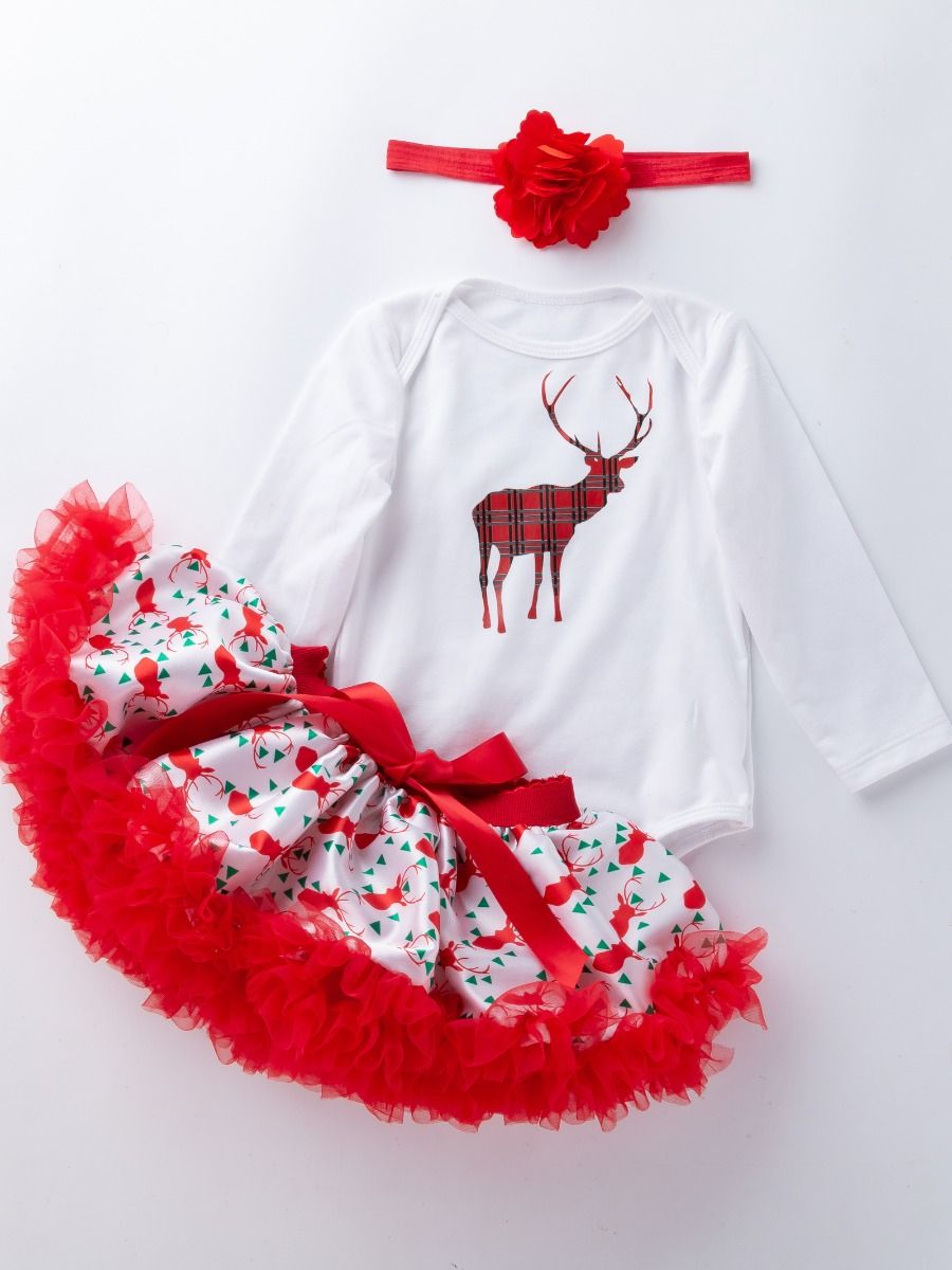 a8d0c7339bb ... 4PCS Christmas Baby Girl Clothes Outfit Set Deer Print Romper Top and  Ruffled Bow Tulle Skirt ...