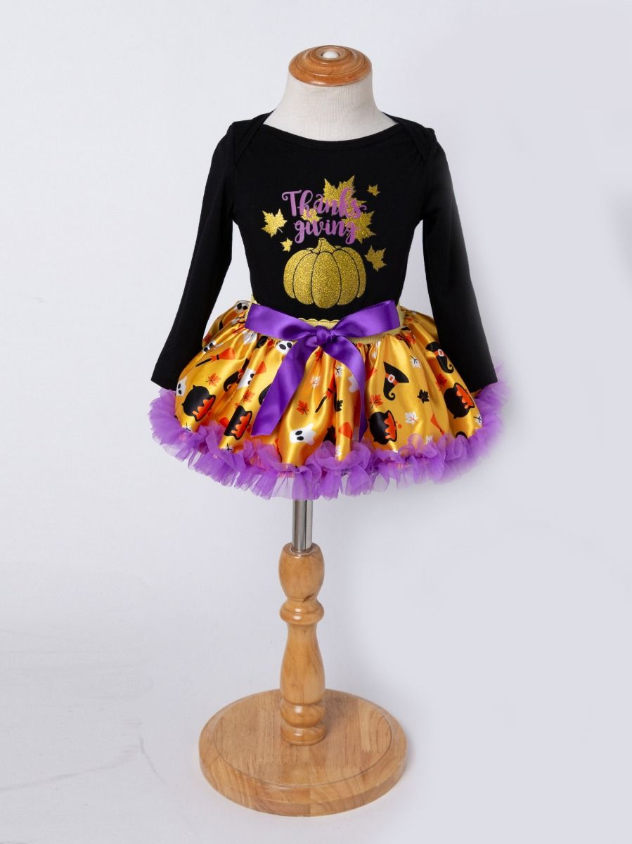 bff43e183cb4 ... 3PCS Infant Baby Girl Thanksgiving Outfit Set Shinny Maple Leaves  Pumpkin Romper Purple Bow Tutu Dress ...