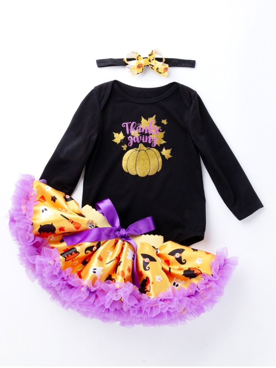 fa3d936ed2b8e 3PCS Infant Baby Girl Thanksgiving Outfit Set Shinny Maple Leaves Pumpkin  Romper Purple Bow Tutu Dress with Bowknot Headband Wholesale