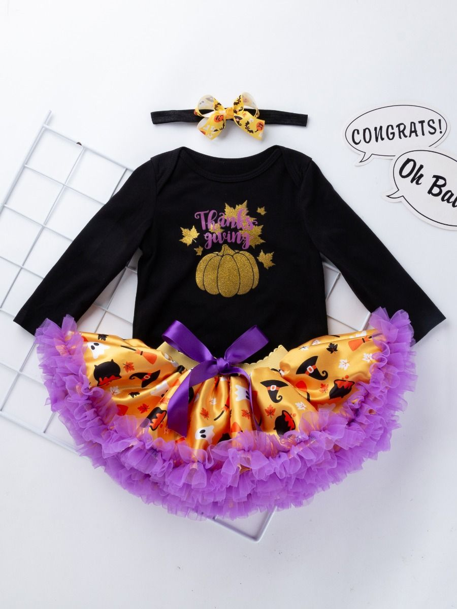 824dd89e2f34 ... 3PCS Infant Baby Girl Thanksgiving Outfit Set Shinny Maple Leaves  Pumpkin Romper Purple Bow Tutu Dress ...