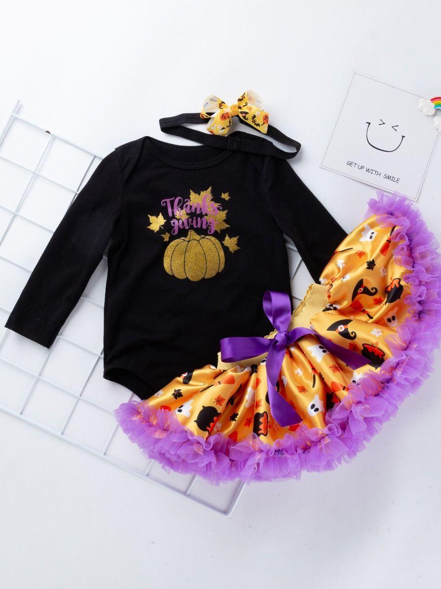 1b74c8278 Wholesale 3PCS Infant Baby Girl Thanksgiving Outfit Set